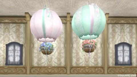 フラワーの気球・桃、緑