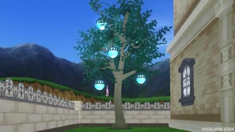 丸いランタンの木